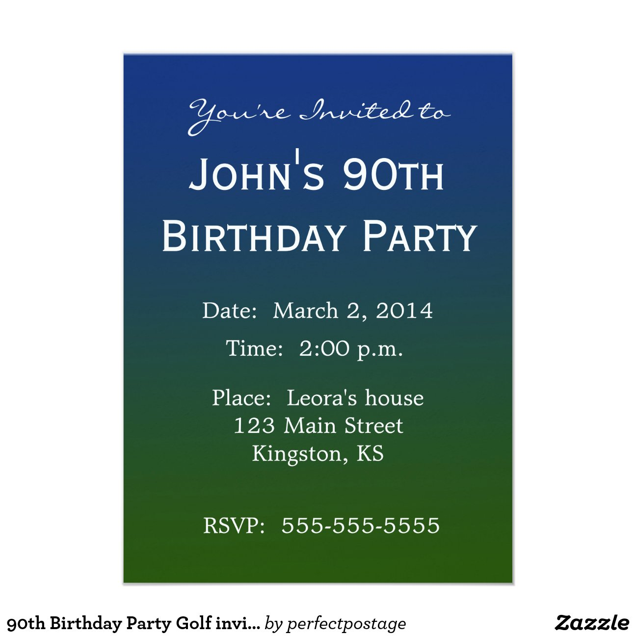 90th Birthday Party Golf Invitation Template