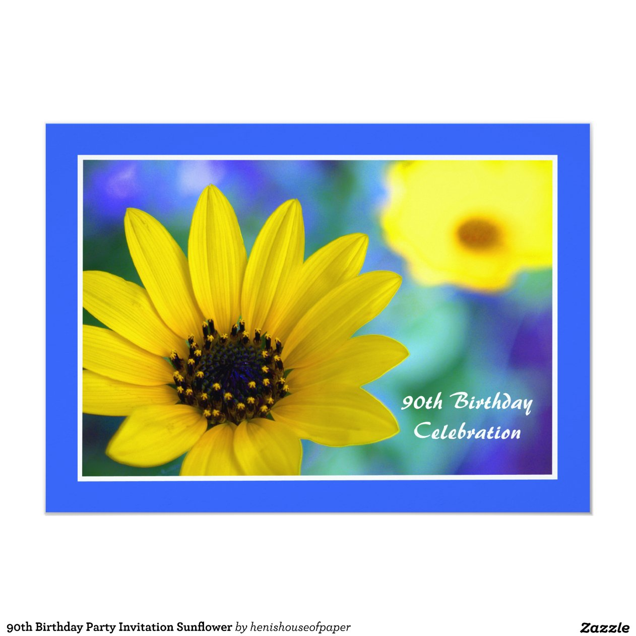 90th Birthday Party Invitation Sunflower