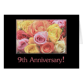 9th Anniversary Cards 9th Anniversary Card Templates Postage Invitations Photocards  More