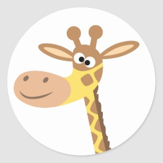 A cartoon giraffe round sticker sticker