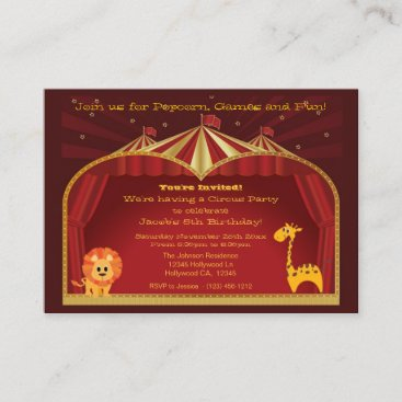 A Circus Birthday Party Invitations