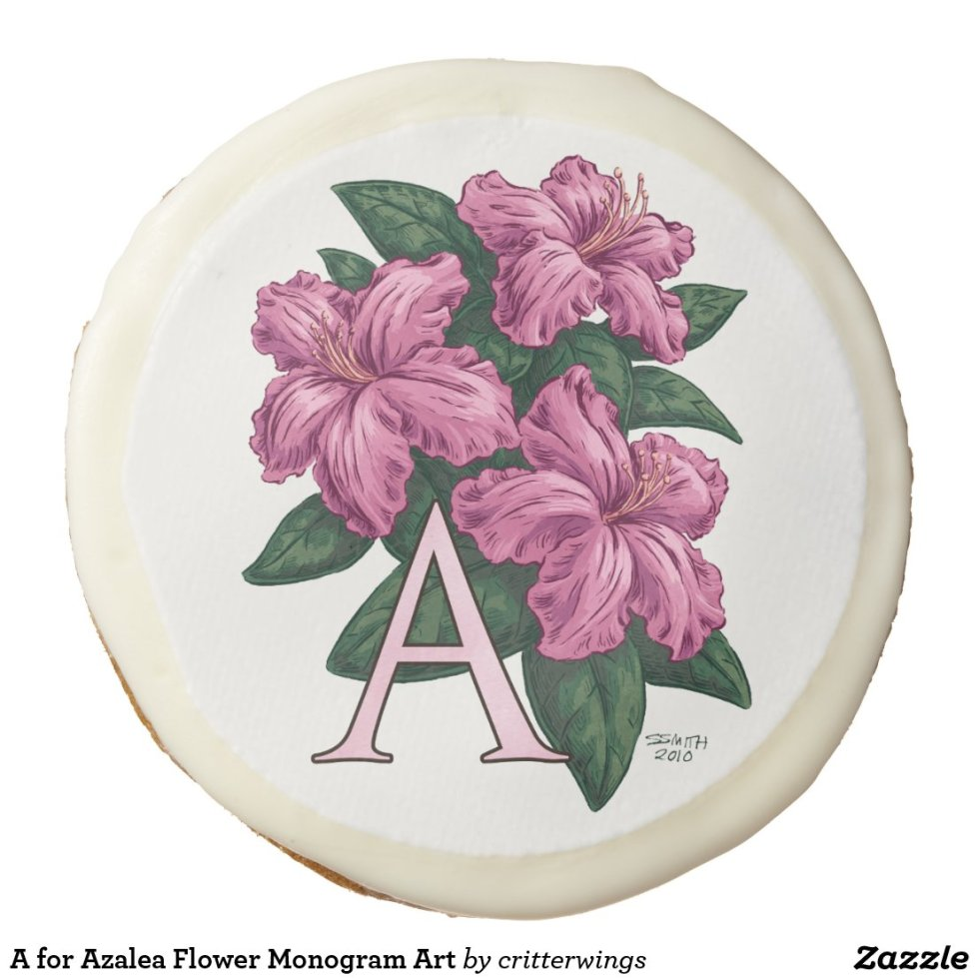 A for Azalea Flower Monogram Art Sugar Cookie
