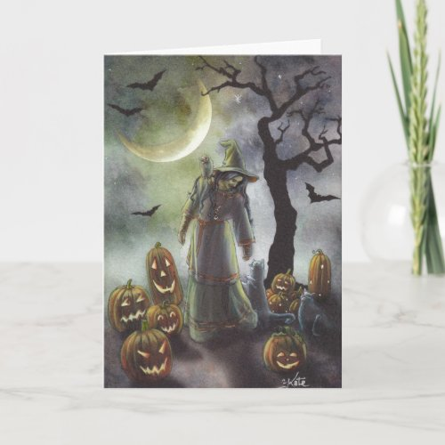 A misty walk at Halloween. Card