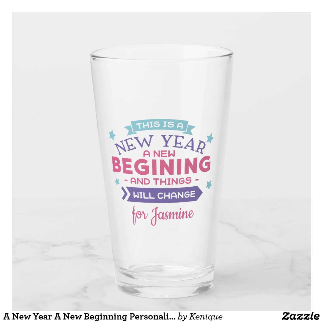 New Year New Beginning Glass
