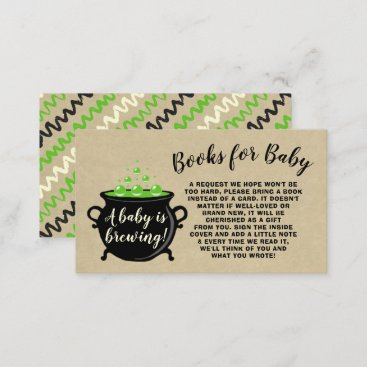 A Sweet Baby Is Brewing Halloween Baby Shower Book Enclosure Card