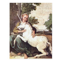 A Virgin with a Unicorn by Domenico Zampieri Postcard