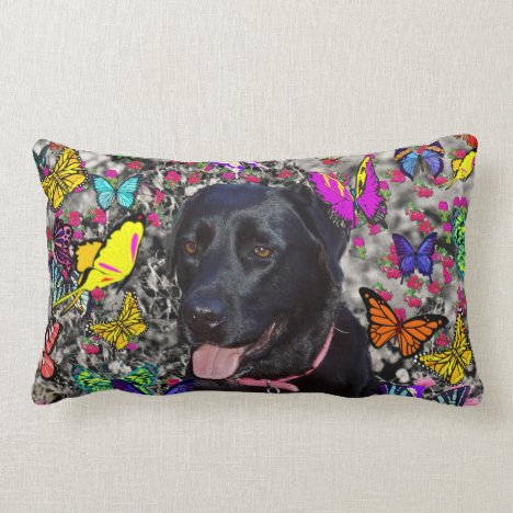 Abby in Butterflies - Black Lab Dog Lumbar Pillow