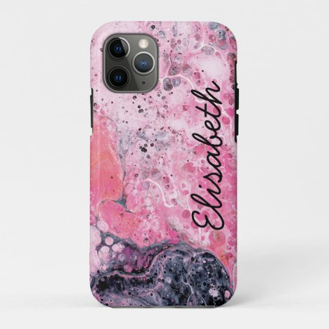 Abstract Art With Acrylic Paint Pour | Pink Black iPhone 11 Pro Case