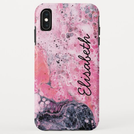 Abstract Art With Acrylic Paint Pour | Pink Black iPhone XS Max Case