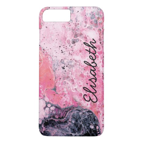 Abstract Art With Acrylic Paint Pour | Pink Black iPhone 8 Plus/7 Plus Case