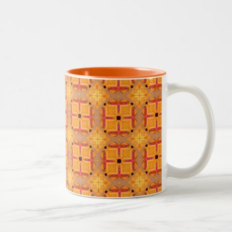 Abstract Cinnamon Apple Geometric Squares Diamonds Two-Tone Coffee Mug