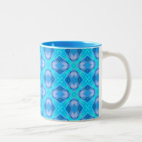 Abstract Circles Arches Lattice Aqua Blue Two-Tone Coffee Mug
