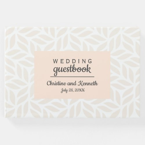 Abstract cream leaves Wedding Personalized Flower Guest Book