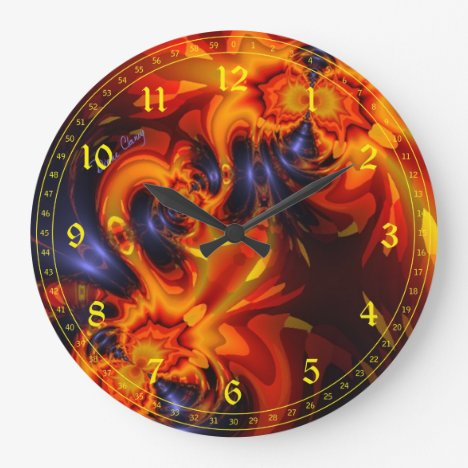 Abstract Dance of the Dragons - Indigo Amber Eyes Large Clock