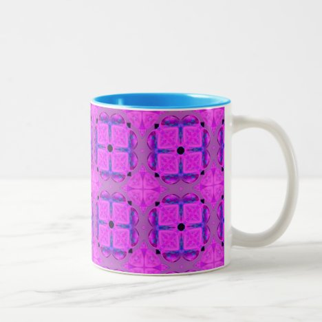 Abstract Dancing Diamonds Purple Violet Two-Tone Coffee Mug