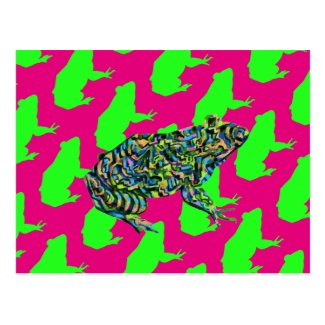 Abstract Frog Pattern Art Postcard
