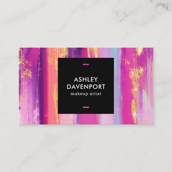 Abstract pink and gold glitter brushstrokes makeup business card