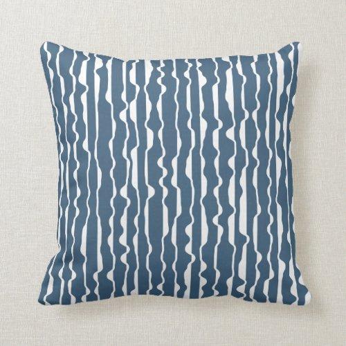 Abstract Ruffle Dark Denim Blue Throw Pillow