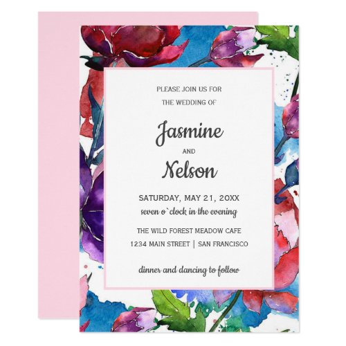 Abstract watercolor  flowers wedding vertical invitation