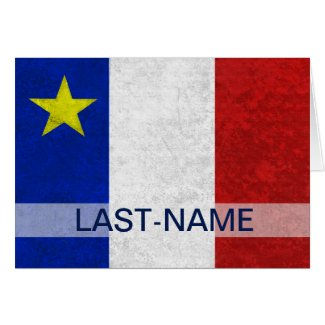 Acadian Flag Surname Distressed Grunge Personalize Cards