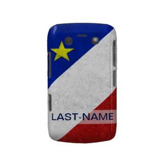 Acadian Flag Surname Distressed Grunge Personalize Blackberry Case