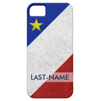 Acadian Flag Surname Distressed Grunge Personalize iPhone 5/5S Cases