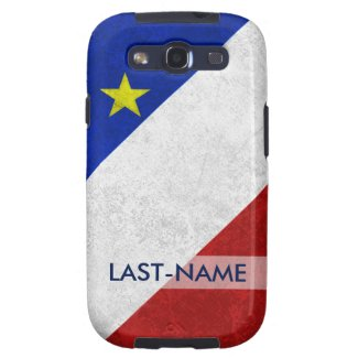 Acadian Flag Surname Distressed Grunge Personalize Galaxy SIII Cases