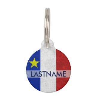 Acadian Flag Surname Distressed Grunge Personalize Pet Tag
