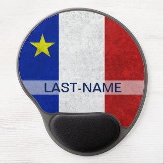 Acadian Flag Surname Distressed Grunge Personalize Gel Mouse Pads