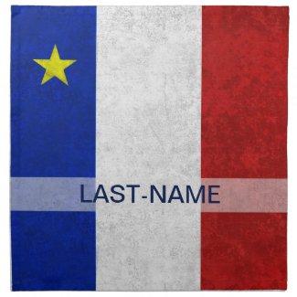 Acadian Flag Surname Distressed Grunge Personalize Napkin