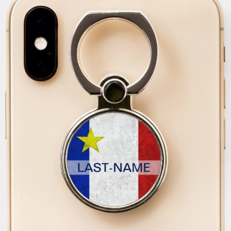 Acadian Flag Surname Distressed Grunge Personalize Phone Ring Stand