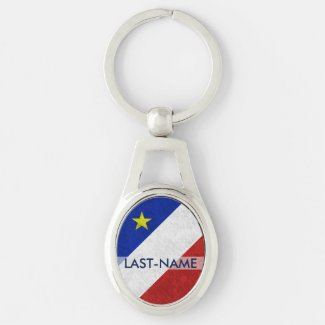 Acadian Flag Surname Distressed Grunge Personalize Key Chains