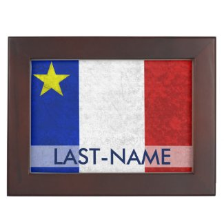 Acadian Flag Surname Distressed Grunge Personalize Memory Boxes