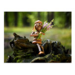 Acorn elf with heath flower postcard