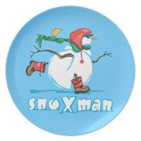 Funny Snowman Plates | Zazzle
