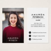 Actor Models Dancer Photo Social Media Icons Business Card