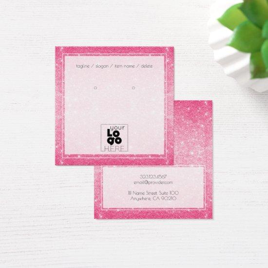 Add A Logo Hot Pink Glitter Earring Display Card