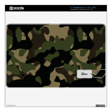 "Add your name - Green, Brown, Tan and Black Camo 11"" MacBook Air Decal"