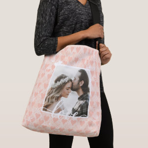 Add Your Own Custom Photo Love Hearts in Rose Gold Crossbody Bag