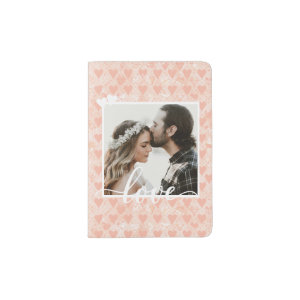 Add Your Own Custom Photo Love Hearts in Rose Gold Passport Holder