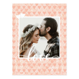 Add Your Own Custom Photo Love Hearts in Rose Gold Postcard