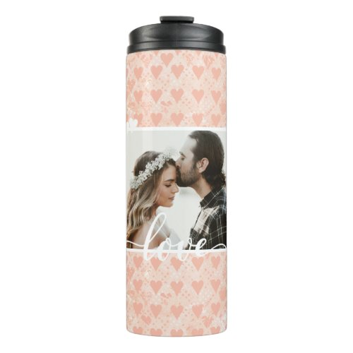 Add Your Own Custom Photo Love Hearts in Rose Gold Thermal Tumbler