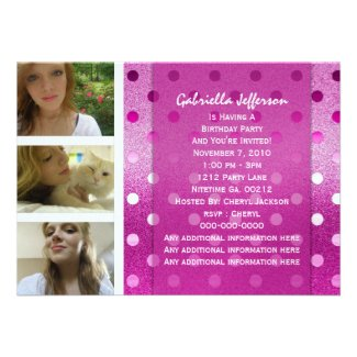 Add Your Picture: Pink Sparkle Party Invitation