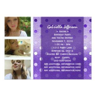 Add Your Picture: Purple Sparkle Party Invitation