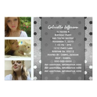 Add Your Picture: Silver Sparkle Party Invitation