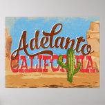Adelanto California Cartoon Desert Retro Travel Poster