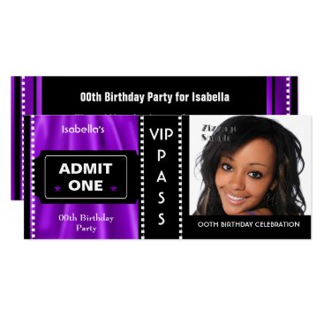 Admission Ticket Birthday Party Photo Purple Black Card