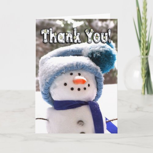 Adorable Handmade Snowman Thank You Card