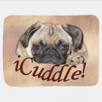 Adorable iCuddle Pug Puppy Stroller Blanket