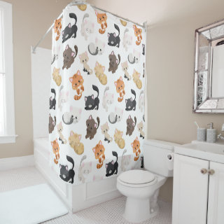 Adorable Kitty Cats Print Shower Curtain